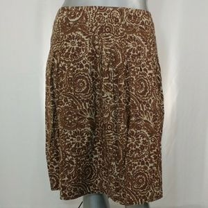 Sag Harbor Linen Blend Paisley Pleated Skirt, 16